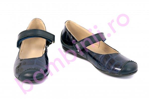 Pantofi fete piele 721 blu lac croco