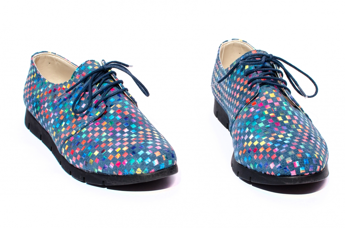 Pantofi fete piele naturala 026s2 albastru sah 34-41