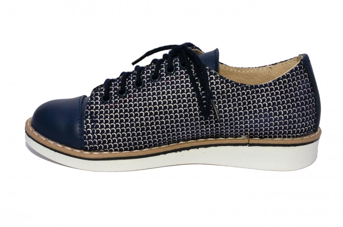 Pantofi fete piele naturala 1384 blu arg 26-36