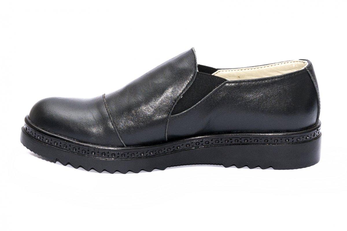Pantofi fete piele naturala DC55 negru box 34-41