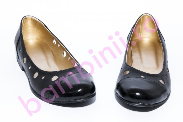 Pantofi fete piele perforati 46 negru box lac 34-41