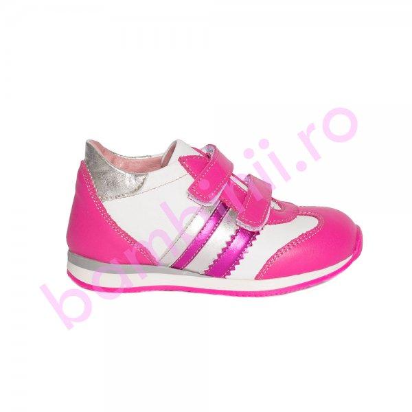 Pantofi fete pj shoes Costa fuxia alb 20-26
