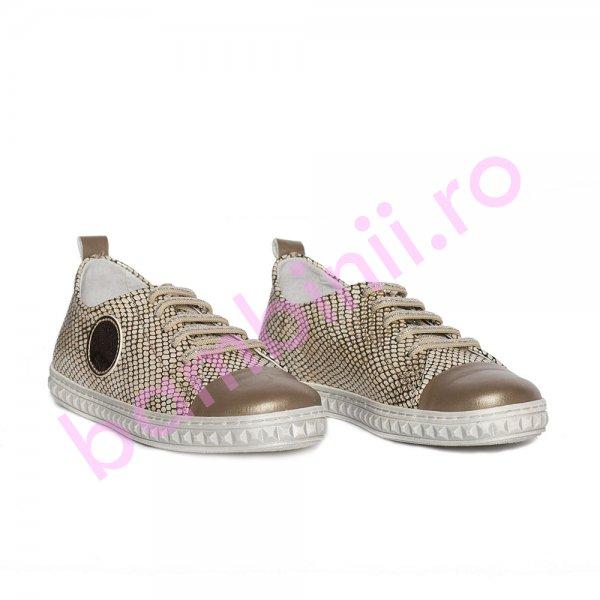 Pantofi fete pj shoes Tag auriu print 27-36