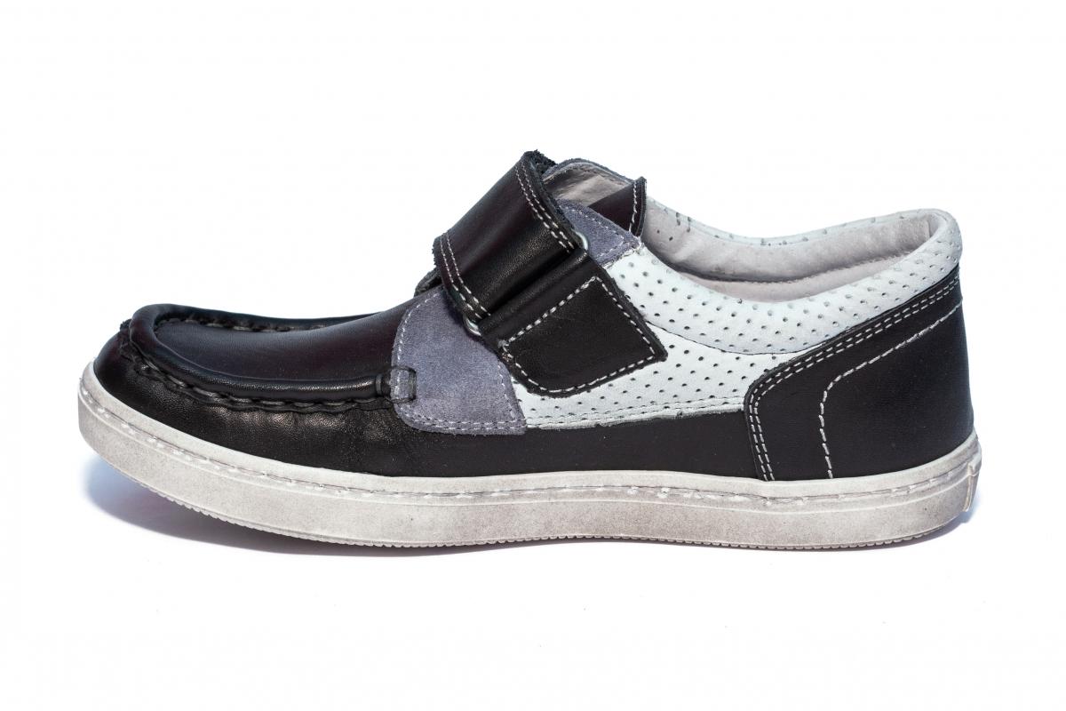 Pantofi mocasini baieti hokide 240 negru gri 26-37