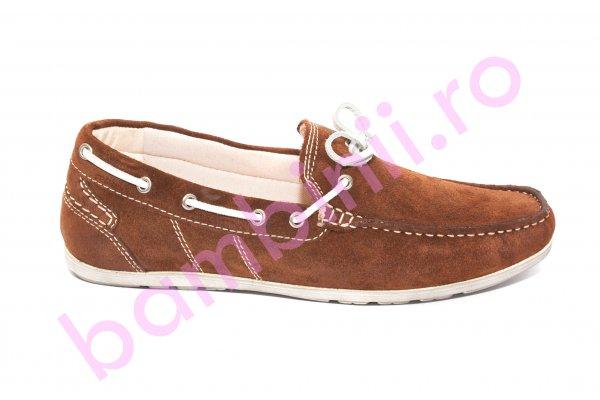 Pantofi mocasini barbati piele intoarsa 873 maro 39-45