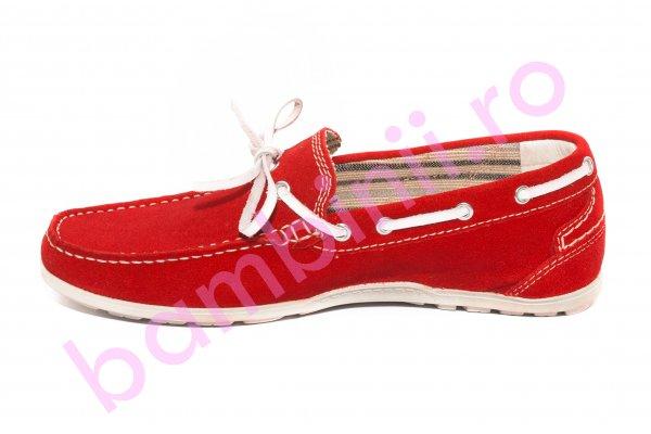 Pantofi mocasini barbati piele intoarsa 873 rosu 39-45