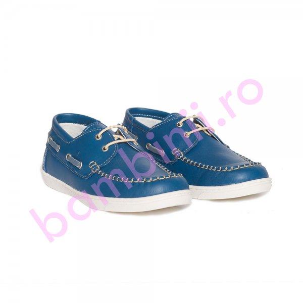 Pantofi mocasini copii piele pj shoes Jose albastru bej 27-36