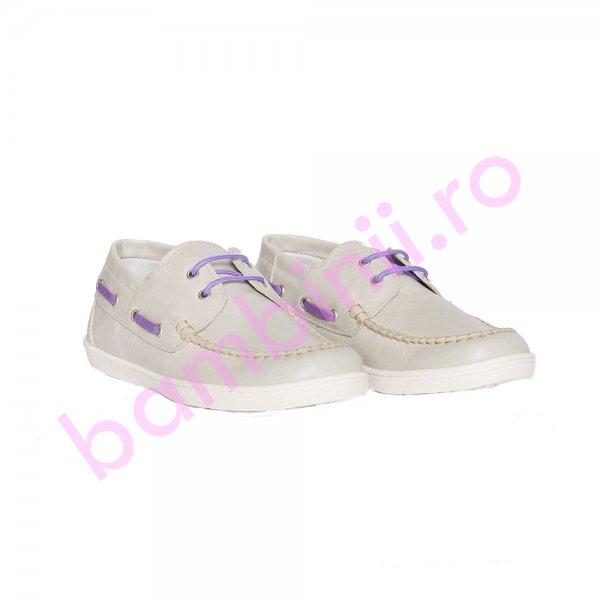 Pantofi mocasini copii piele pj shoes Jose argintiu 27-36