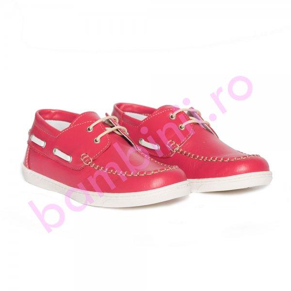 Pantofi mocasini copii pj shoes Jose rosu 27-36