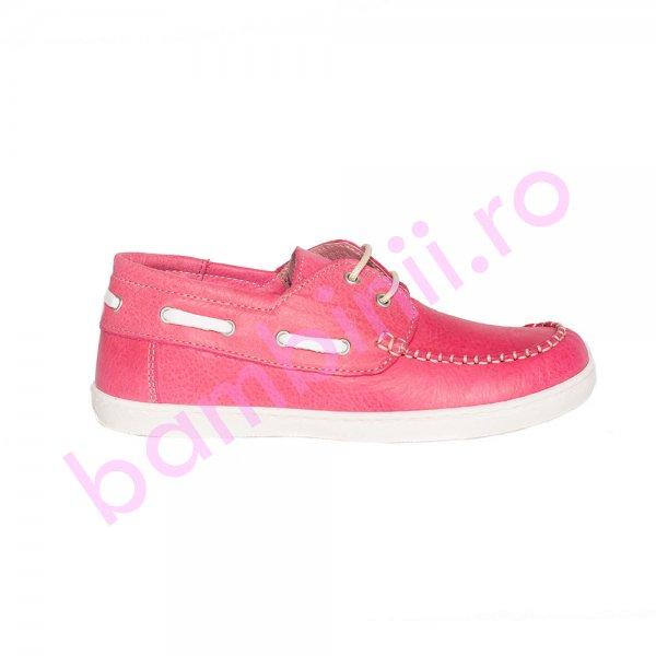 Pantofi mocasini fete copii piele pj shoes Jose fuxia 27-36