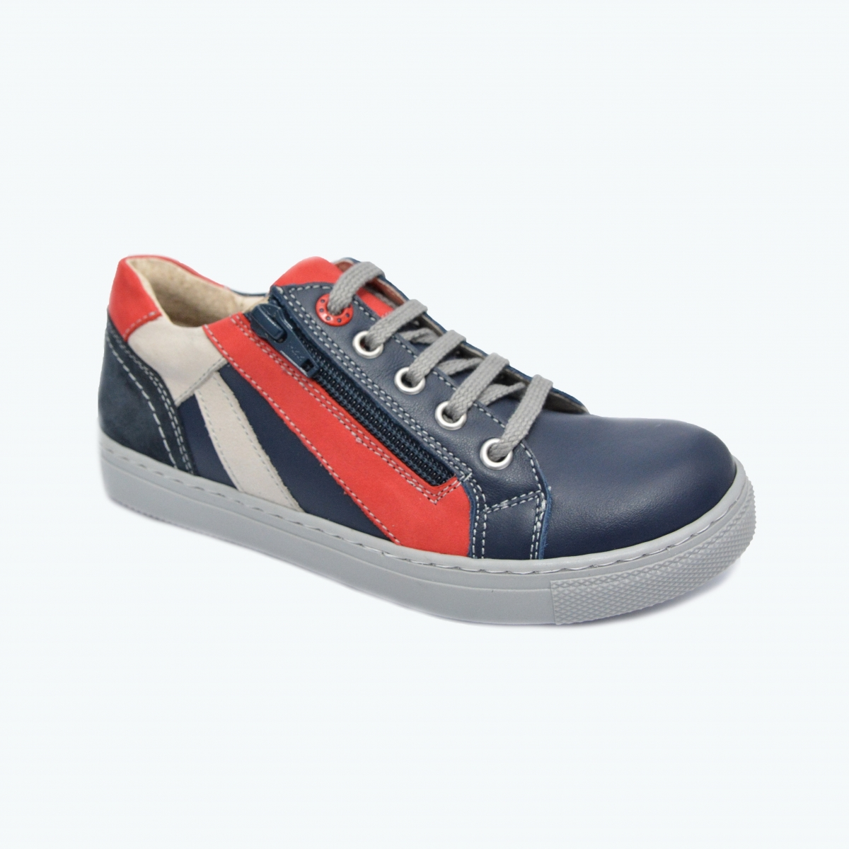 Pantofi sport copii din piele hokide 400 blu rosu bej 26-37