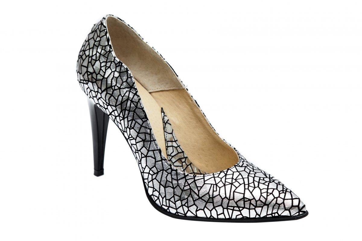 Pantofi stileto dama toc subtire 597 argintiu 34-40
