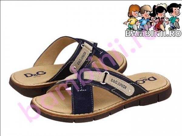 Papuci piele D&G junior blu 30-40