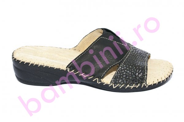 Papuci dama flexibili piele naturala Jana 7003 negru 35-41