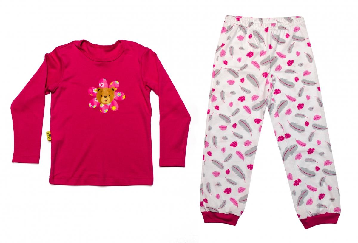 Pijamale fete 1025 fuxia alb 116-140cm