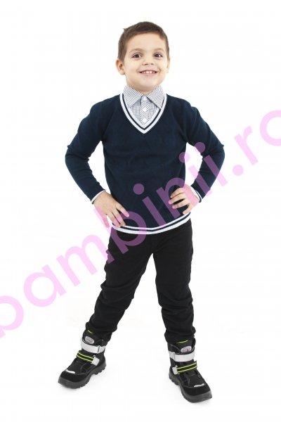 Pulovere copii cu guler camasa 5150 blu 6-11ani