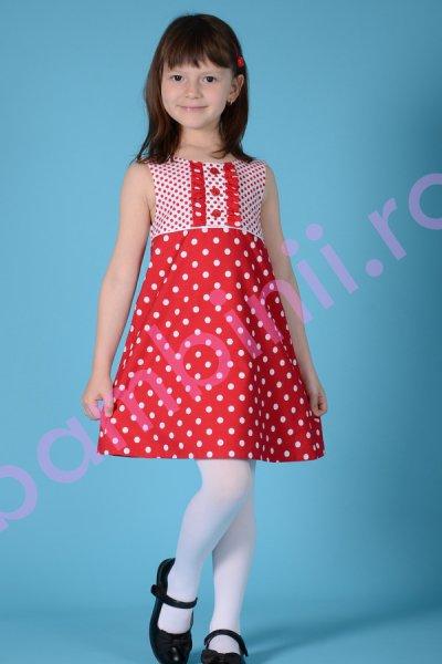 Rochie fete rosie cu buline 1267