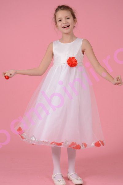 Rochie fete alba cu floare rosie si petale rosii si argintii 1375 3-10ani