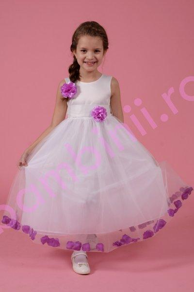 Rochie fete alba cu petale si floare violet 1372