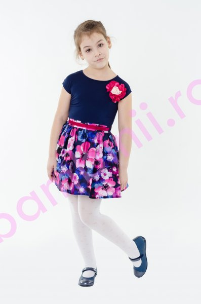 Rochie fete bleumarin cu imprimeu floral si bust din tricot 1393 3-12ani