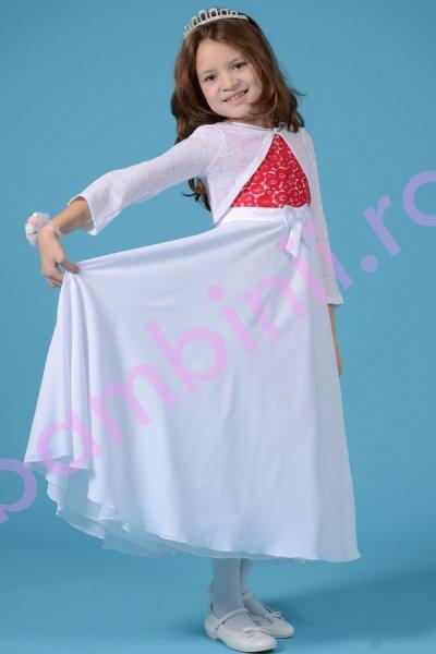 Rochie fete-bust din dantela Rosie si fusta din voal alb 1365 4-12ani