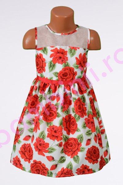 Rochie fete cu imprimeu floral si organza 1416 4-10ani