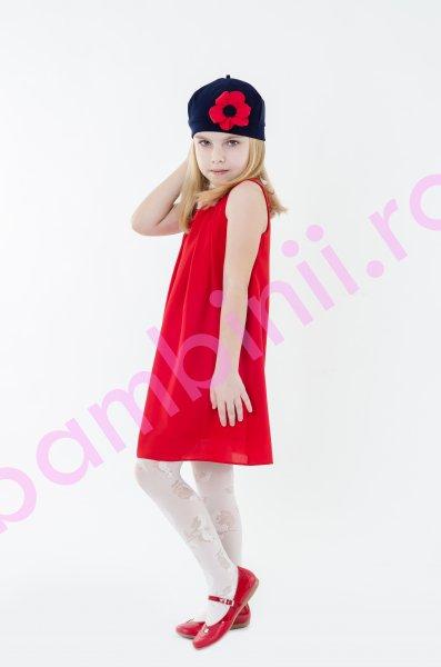 Rochie fete din Voal rosie cu flori aplicate 1403 4-12ani