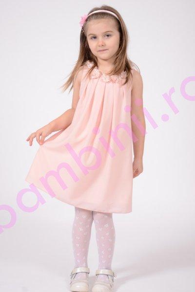 Rochie fete din Voal roz pal cu flori aplicate 1404 4-12ani