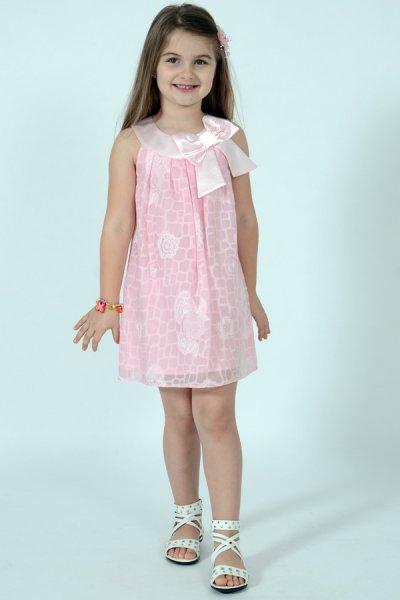 Rochie fete din voal si funda roz 1466 3-10ani