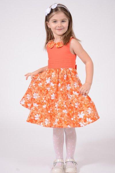 Rochie fete portocalie cu guler si imprimeu floral 1387 3-10ani