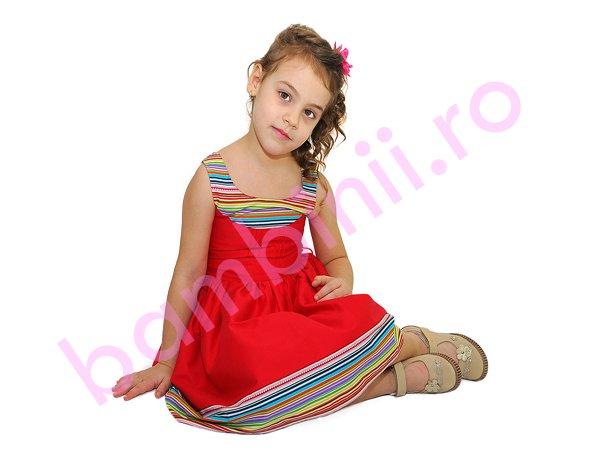Rochie fete Rosie cu bordura in dungi multicolore 1256