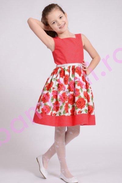Rochie fete rosie cu imprimeu floral 1412 4-10 ani