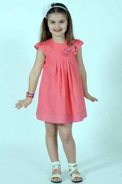 Rochie fete roz cu buline 1476 3-8ani