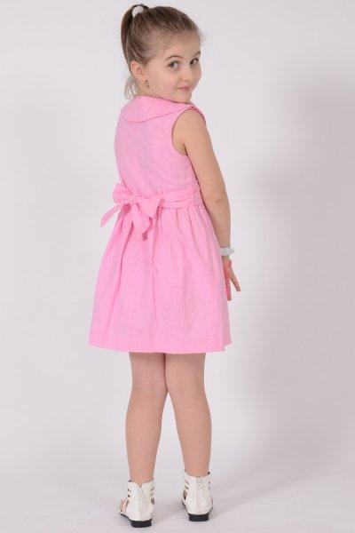 Rochie fete roz cu guler si cordon 1474 3-10ani