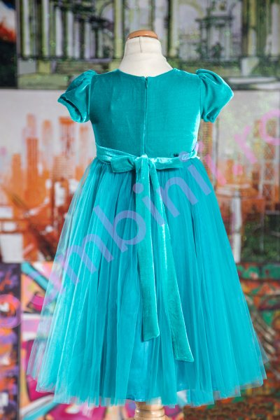 Rochii fete Turquoise Velvet 130.02 turcoaz 3-12ani