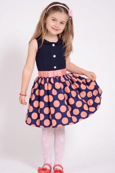 Rochii fete bleumarin si fusta cu buline roz 1397 3-10ani