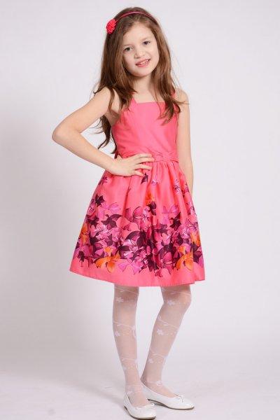 Rochii fete cu fundite si bretele 1418 roz 4-10