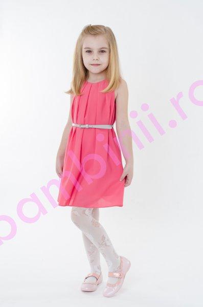 Rochii fete din voal roz si curea gri 1401 4-12ani