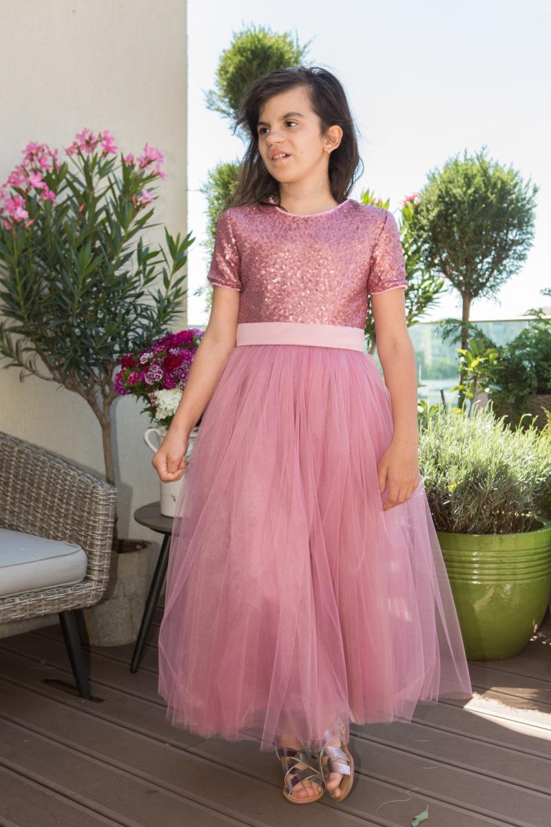 Rochii fete hey princess 140.05 roz gliter 3luni-12ani