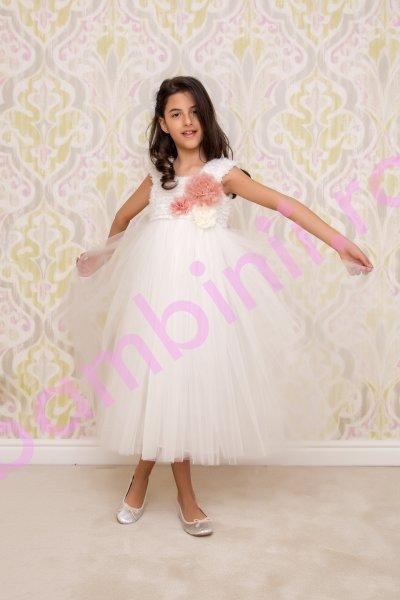 Rochii fete hey princess flowers 219.01 alb 3luni-12ani