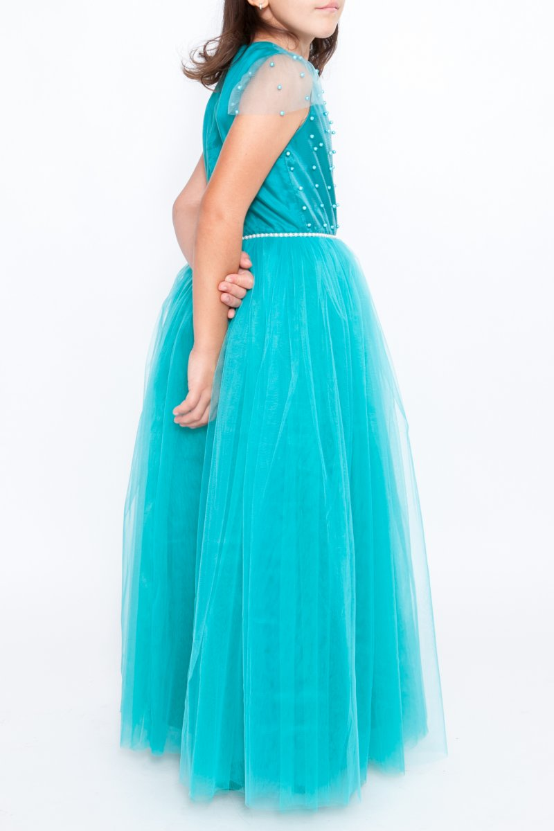 Rochii fete printese hey Princess 241.04 turcoaz cu perle 3luni-12ani