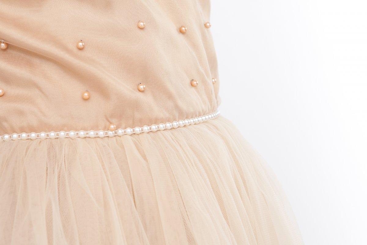 Rochii printese fete hey Princess 241.03 crem cu perle 3luni-12ani