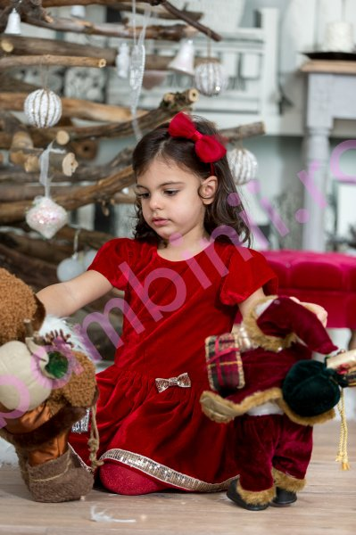Rochita fete Red Velvet Christmas 207.01 rosu 3luni-12ani