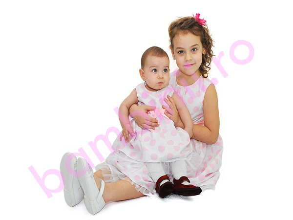 Rochii fete 1138 alb buline roz