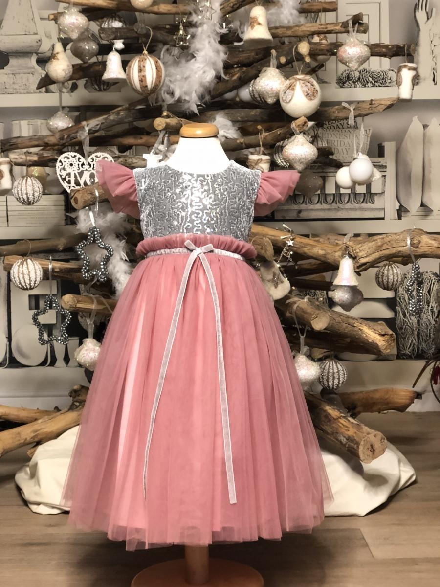 Rochita fete hey princess Christmas gliter roz 3luni-12ani