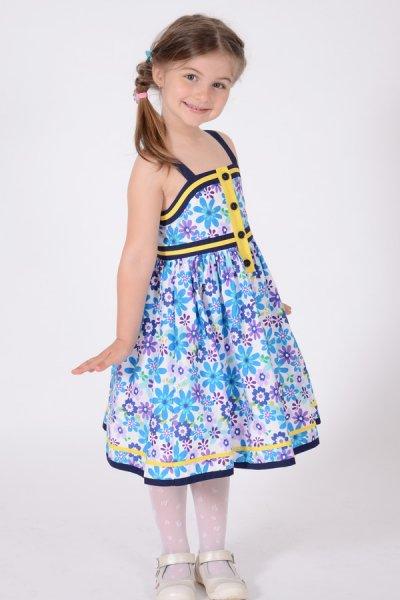 Rochite fete alba cu imprimeu floral si bretele 1424 1-6ani