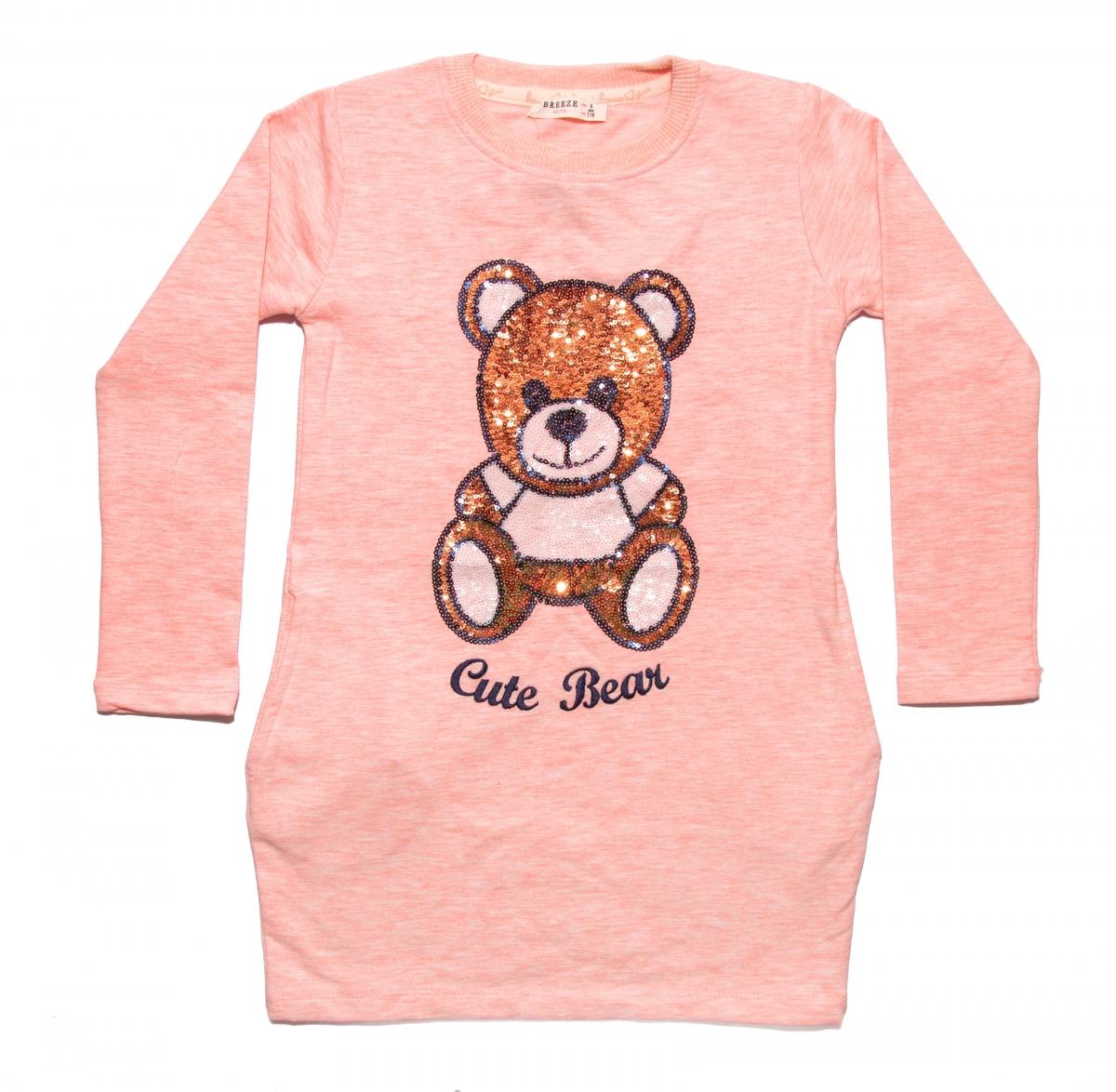 Rochite fete cu maneca lunga ursulet 1778 roz 110-146cm