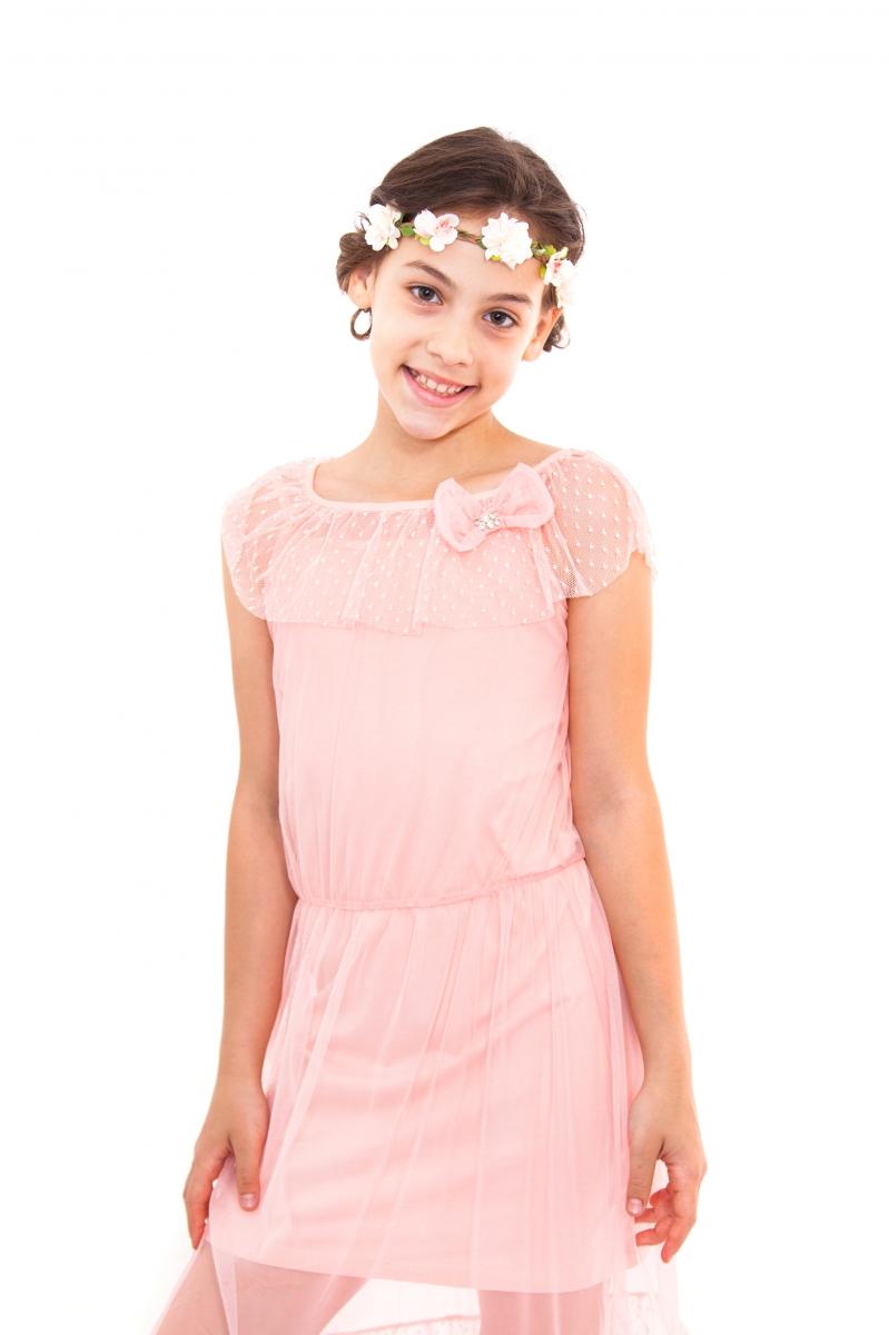 Rochite fete din 2 piese cu voal 2601 roz 128-164cm