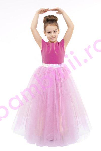 Rochie fete de zana 611 roz 2-10ani