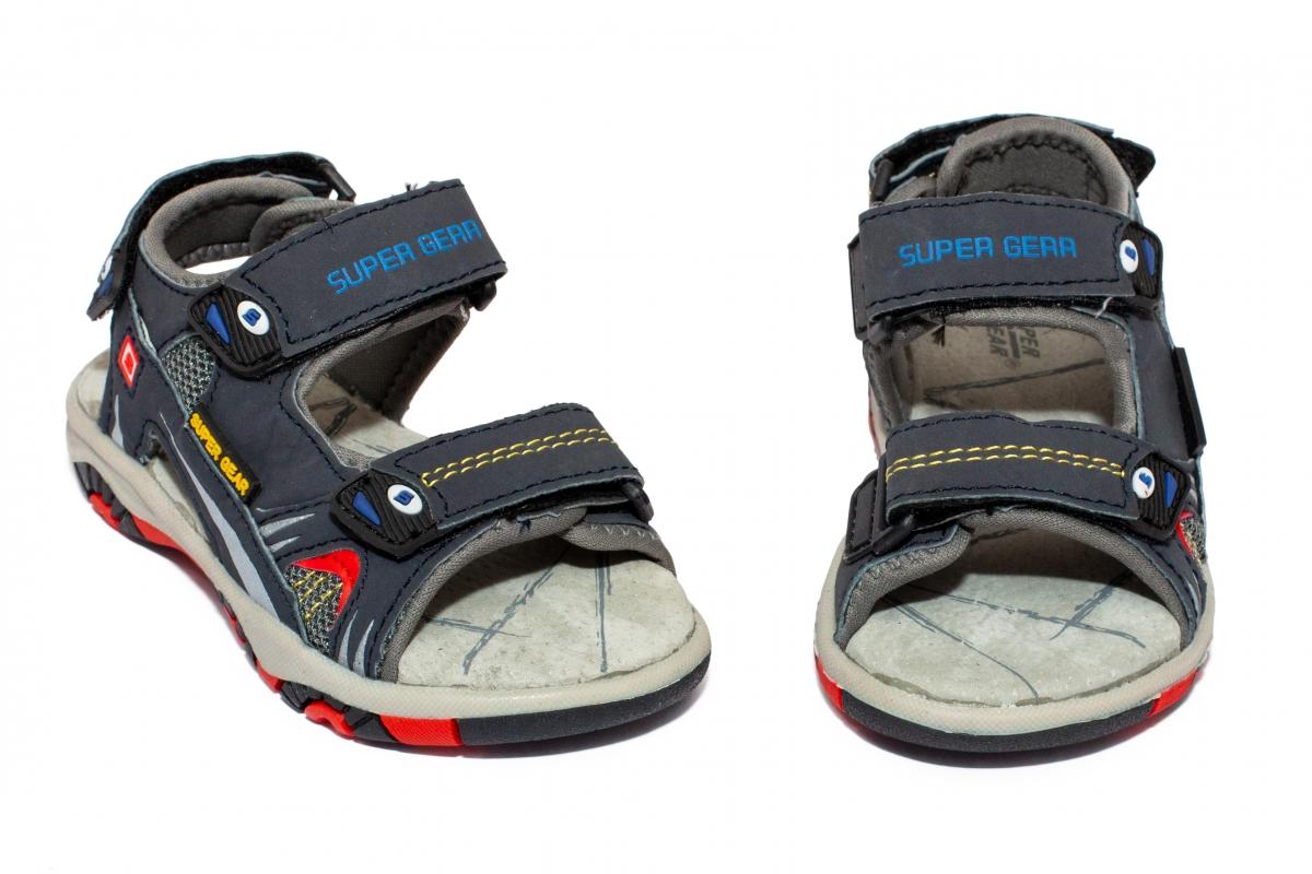 Sandale baieti cu brant din piele 298 blu 24-30